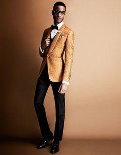 Smoking hot! Season's trend in smoking jackets. Tom Ford Silk Jacquard jacket and ensemble. November 2013. HowToSpendIt
