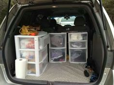 """Camping storage! Pack everything in storage drawers for easy access and """"luxury"""" camping...straight from car to tent and back again. GENIUS!"""