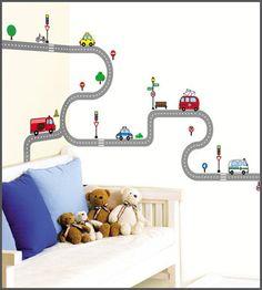 Wall decal stickers - boys room race car roads theme nursery room on ebay