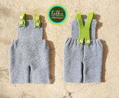 Handmade baby overall with 100 merino wool in gray door LolkaWear, €35.00