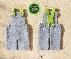 Handmade baby overall with 100 merino wool in gray door LolkaWear, €35.00