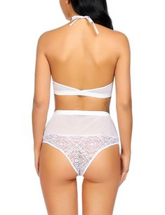 ADOME Women 2 Pieces Lingerie Set Babydoll High Waisted Panty Thong White M      To learn more bb6cb3a08