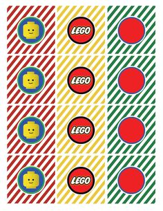 free lego printables | lego straw flag says drink me lego tented cards in four colors