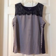 Navy and blue striped tank Reposted top in great condition!  Too small for me. Stretch in the back fabric only. Will keep you cool and comfy! Coldwater Creek Tops Tank Tops
