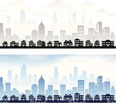 Suburban Community with City skyline panoramic Royalty free vector graphic royalty-free stock vector art