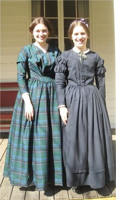 Green plaid fan-front dress. Made using the Laughing Moon round Gown pattern (#114) (1840s and early 1850s). These would be a bit early for the Handcart Era, but the either can be ideal for the original Utah emigration, and both could be stretched for 50s use, as well. Better too early by a smidge than too late in the century!
