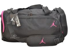 413459fbc15c Nike Air Jordan Duffle Gym Bag Basketball Black Pink Duffel Large Women  Girl  Nike