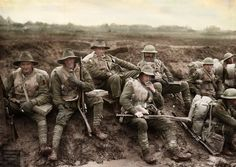 Unidentified men of the Division enjoying a smoke and rest by the side of the Montauban road, near Mametz, France, while enroute to the trenches. Most of the men are wearing sheepskin vests and. Ww1 History, Military History, Family History, World War One, First World, Ww1 Photos, Battle Of The Somme, American Revolution, Warfare