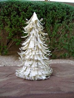 Vintage Paper Christmas Tree Cone / Handmade Sheet music Christmas Decoration.  -Try with Christmas colors and rows spaced further out