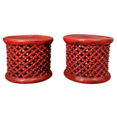 Pair of Red Cameroon Side Tables