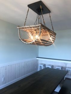 This Driftwood light fixture will look great over your dining table, kitchen island, or entryway. Made from a real lobster or crab trap. Great for someone who is looking for a driftwood chandelier, bu Farmhouse Light Fixtures, Diy Light Fixtures, Farmhouse Lighting, Room Lights, Hanging Lights, Ceiling Lights, Kitchen Table Makeover, Dining Table In Kitchen, Dining Tables