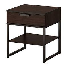 TRYSIL Bedside table - dark brown/black - IKEA