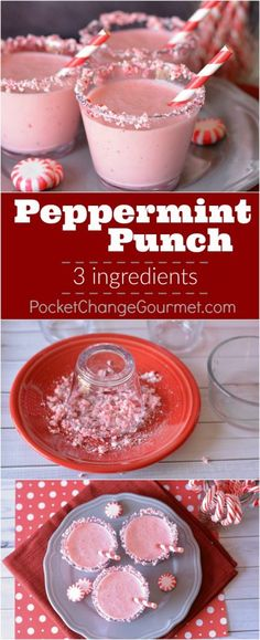 Peppermint Punch- 3 ingredient punch that will be a party favorite!