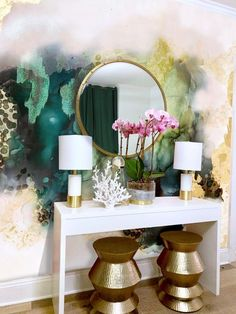 Emerald Storm Wallpaper, Luxury green and gold wallpaper mural, Japan Wallpaper, Storm Wallpaper, Green Wallpaper, Gold Wallpaper Dining Room, Green Dining Room, Living Room Green, My Living Room, Living Room Decor, Blush Living Room