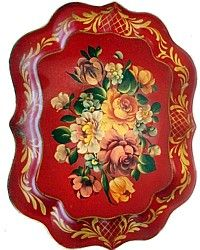 Vintage Red Hand Painted Tole Tray