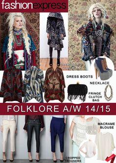 Autumn/ Winter 2014-15 trends: Key Items board. #trend #folkstyle