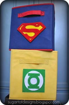 Superhero templates - printable.    I find the placement of the Green Lantern emblem on a yellow box to be ironic. Which probably makes me a huge nerd.