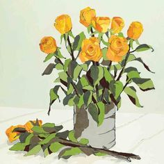 Orange Roses by Debra Sweeney, Fine Art Greeting Card, Paper Collage and Charcoal, Orange roses