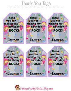 Girls ROCKWALL Birthday Party Thank You Tags by PokeysPrettyParties  rock climbing rock wall