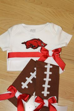 Arkansas Razorbacks Football Onesie and Leg Warmer Set, Arkansas Razorbacks Onesie Football Set, Football Leg Warmers, Baby Girl Football on Etsy, $36.99