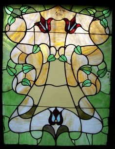 Stained Glass Window Flowers Leaves SG 105 | eBay