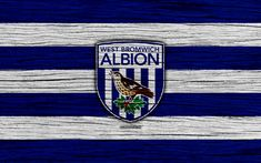 Download wallpapers West Bromwich Albion, 4k, Premier League, logo, England, wooden texture, FC West Bromwich Albion, soccer, football, West Bromwich Albion FC
