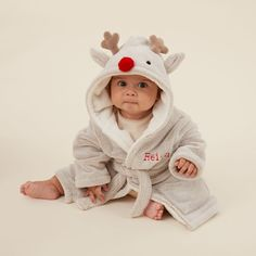Personalised Reindeer Robe with Red Nose| My 1st Years Baby Badger, Sick Baby, Best Hospitals, Red Nose, Height And Weight, Cuddling, Reindeer, Cute Babies, Dressing