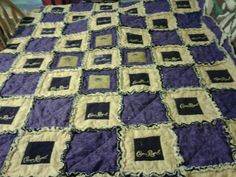 Crown royal bag rag quilt finally done Crown Royal Quilt, Crown Royal Bags, Rag Quilt, Quilt Top, Quilt Blocks, Quilting Projects, Quilting Designs, Sewing Projects, Sewing Ideas