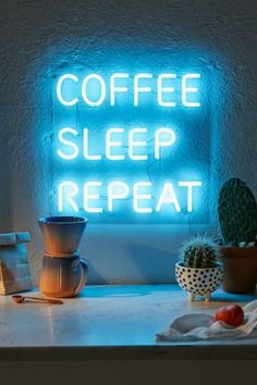 Shop Coffee, Sleep, Repeat LED Neon Sign at Urban Outfitters today. We carry all the latest styles, colors and brands for you to choose from right here. Coffee Love, Coffee Shop, Neon Azul, Custom Neon, Neon Quotes, Neon Words, Funky Home Decor, Neon Aesthetic, Led Neon Signs