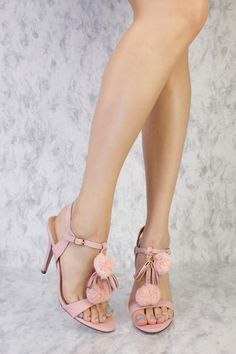 Rose Pink Pom Pom High Polish T-Strap Chain Detailing Single Sole High Heels Faux Leather