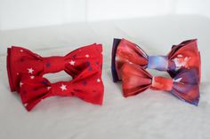 Red White and Blue Patriotic Star Pet Dog Bow by YouFascinateMeSo