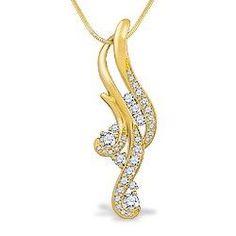 Yellow Gold Waterfall Pavé Diamond Pendant (Chain Included) - Pendants - Jewelry Type