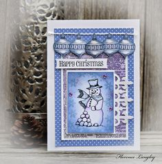 Handmade #Christmas Cards using #Chocolate Baroque Rubbers Stamps #snowman