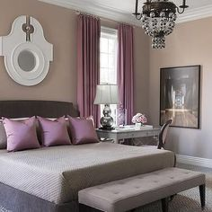 Gray Bed with Purple Pillows