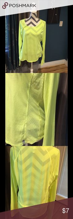 Under Armor work out shirt Yellow long sleeves, zipper pocket in back.  Worn a couple of times. Under Armor Tops Tees - Long Sleeve