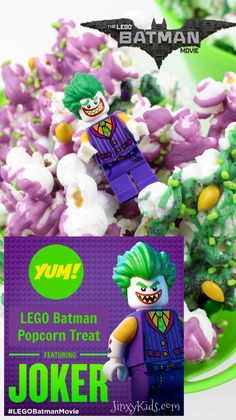 This LEGO Batman Joker Popcorn Treat Recipe combines the bright colors of The Joker - Purple, Green & Yellow in one delicious and easy-to-make treat!