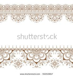 Indian mehndi henna border floral pattern elements card for tattoo on white background. Vector illustration