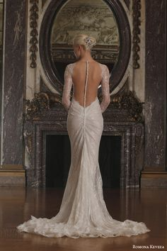 long sleeve v neck sheath wedding dress beaded chantilly lace swarovski belt illusion open back train