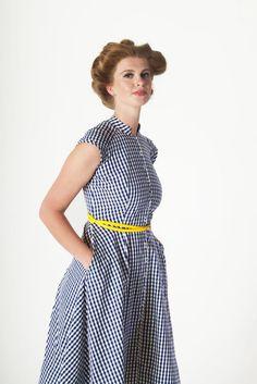 Blue Gingham Pleat Yoke Dress - 50s Style Prom - Organic Cotton - Ethical Fashion