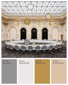 Recreate the historic NYSE #boardroom using Sherwin-Williams paints. #Neutrals like Gray Shingle SW 7670, Heavenly White SW 6553, and Buckram Binding SW 0036 build a pedestal for the #gorgeous Different Gold SW 6396 to shine. Click through to follow us on Instagram and see more #color #inspiration.