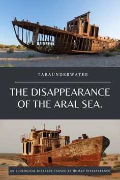 An ecological disaster caused by human interference. The disappearance of the Aral Sea and the ecological impacts that have followed is a great example as to why implementing sustainable development is key to the longevity of our earth's resources.  Environment  environmentalist  conservation  sustainability  resources  water  cotton farming Environmentalist, Marine Biology, Sustainable Development, Science For Kids, Natural Disasters, Ecology, Conservation, Sustainability, Ocean