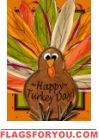 Happy Turkey Day Garden Flag
