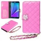 HHI Samsung Galaxy Note 5 Quilted Purse Wallet Case PINK with Crystal Flower Bling and Hand Strap