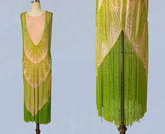 GUERMANTES VINTAGE RARE 1920s Dress / 20s Flapper Dress BEADED / Fringe / Pink and Green / M L