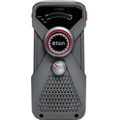 From home base to the campground, use the Eton® FRX 1 Emergency Radio. Built for those daylong hikes, or deep wilderness excursions, this all-purpose radio delivers weather-related info, a headphone jack for listening to music and an LED flashlight to help guide you home. The hand crank provides quick, easy rechargeable power, and the USB cable allows for effortless charging at the campsite. Pack the FRX 1 for your safety on the trails!