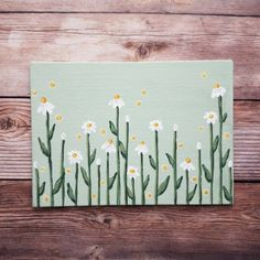 Small Canvas Paintings, Easy Canvas Art, Flower Painting Canvas, Daisy Painting, Small Canvas Art, Cute Paintings, Mini Canvas Art, Simple Flower Painting, Green Paintings
