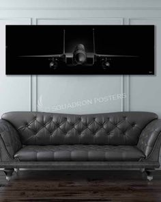 """Check out this """"F-15C Jet Black Super Wide """"Front On"""" Canvas Print"""" found exclusively at Squadron Posters - part of our stunning """"Jet Black Series""""!"""