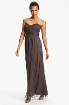 Long Strapless Textured Silk Chiffon Gown
