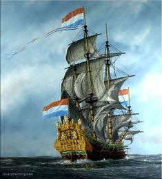 Het Nederlandse VOC zeilschip 'De zeven provincien'