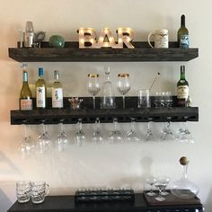 (X-LONG) Rustic Wood Wine Rack Wall Mounted Shelf & Hanging Stemware Glass Holder Organizer Bar Shelf Unique – Home Renovation Wine Glass Shelf, Wine Shelves, Bar Shelves, Wall Mounted Shelves, Wine Glass Holder, Wall Bar Shelf, Wall Mounted Spice Rack, Wine Glass Storage, Bottle Holders